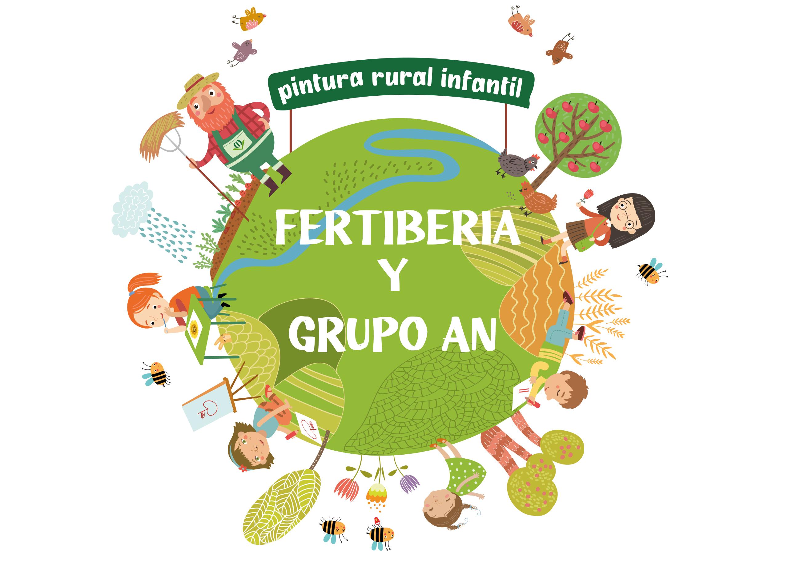 Cartel del Doble concurso pintura rural infantil Fertiberia y Grupo AN